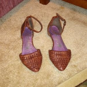 Blowfish brown weave flats with ankle strap 7